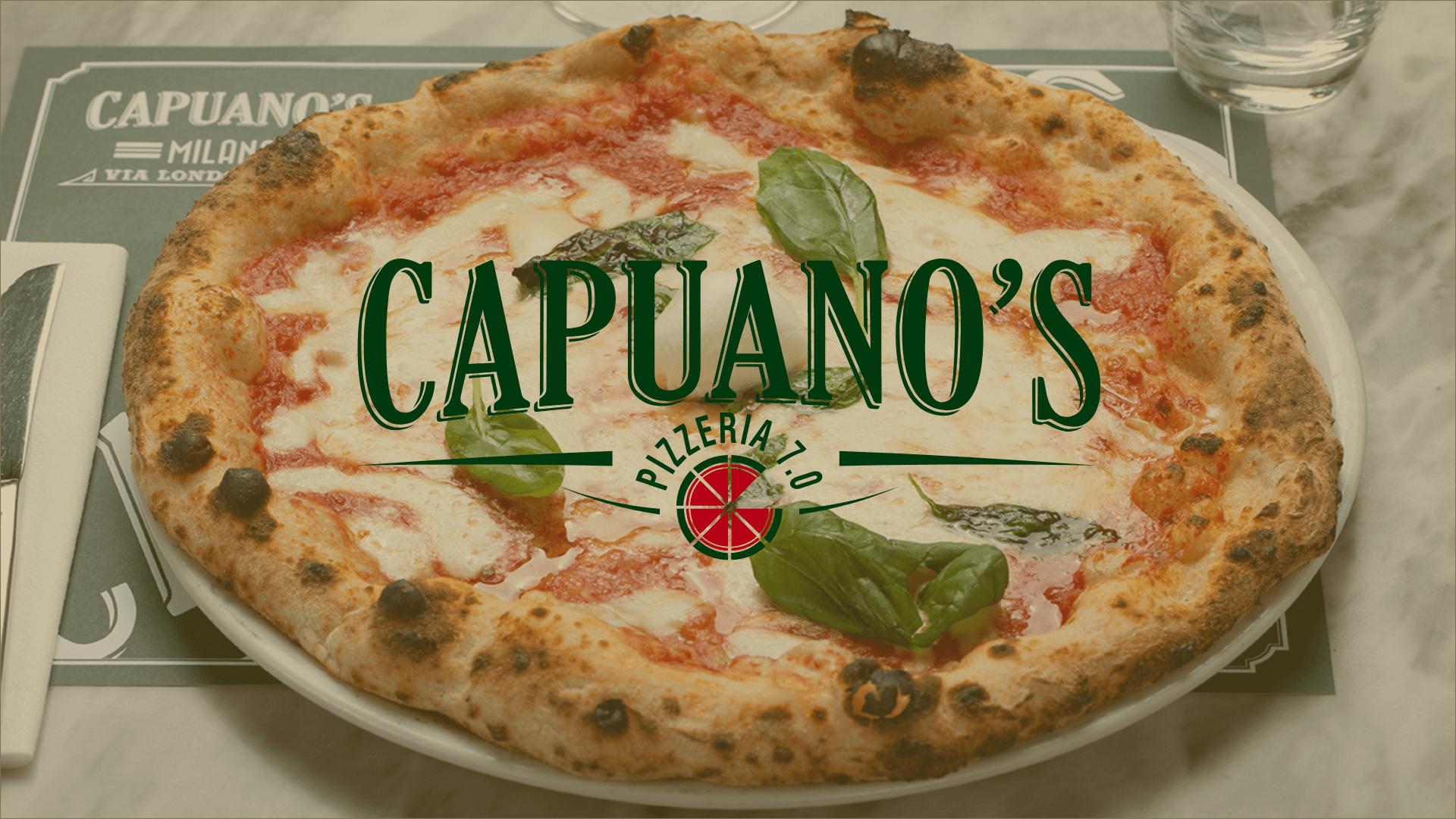 Pizza appena sfornata e impiattata, con logo e scritta Capuano's